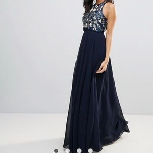 ASOS cutaway embellished crop top maxi evening